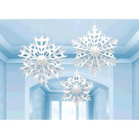 Christmas 'Snowflakes' Paper Fan Decorations (3ct) for $<!---->