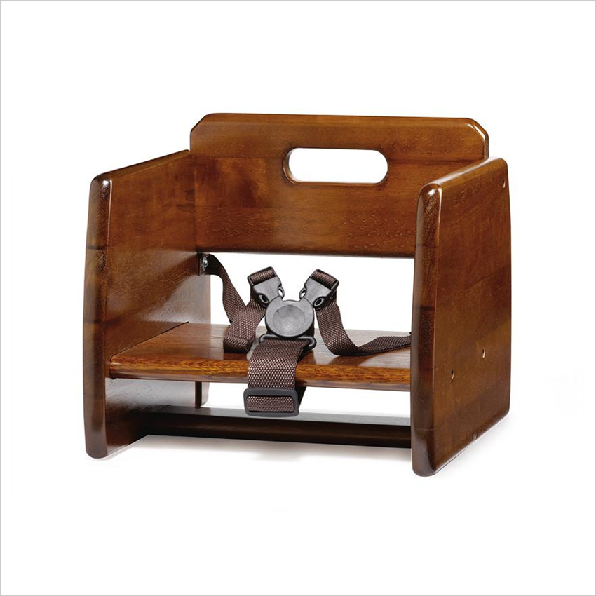 Booster Seat Double Straps Walnut Hardwood/Case of 2
