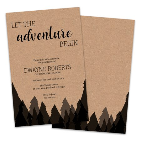 Personalized Kraft Forest Theme Graduation Party Invitation - Hollywood Theme Invitation