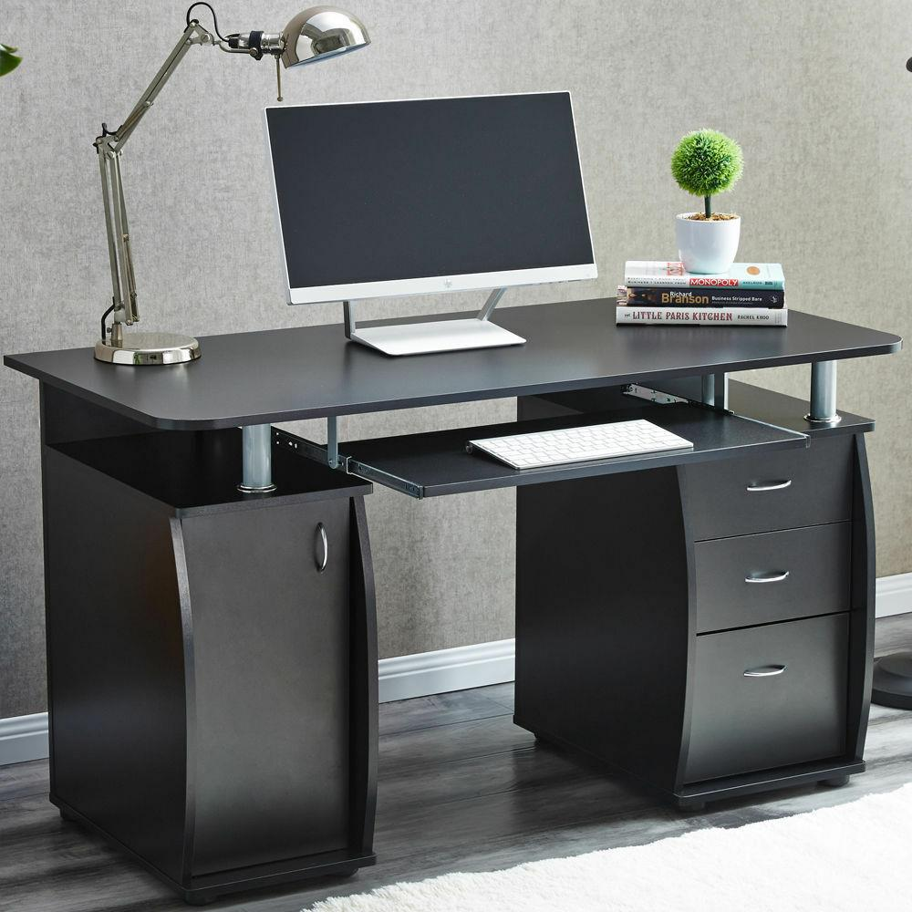4 Drawers Writing Office Table PC Computer Desk Study//Home//Workstation Furniture