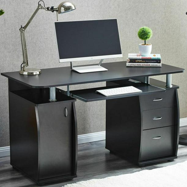 Ktaxon Black 3 Drawers Computer Desk Black Study Workstation Office Furniture
