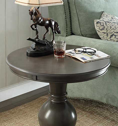 Wooden Round Side Table in Brushed Grey
