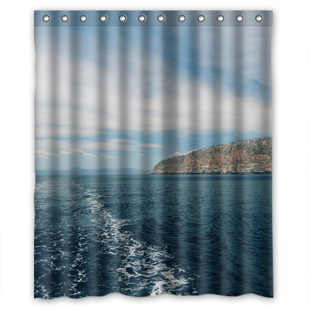 GreenDecor Blue Sky And Ocean Scene Waterproof Shower Curtain Set With Hooks Bathroom Accessories Size 60x72 Inches