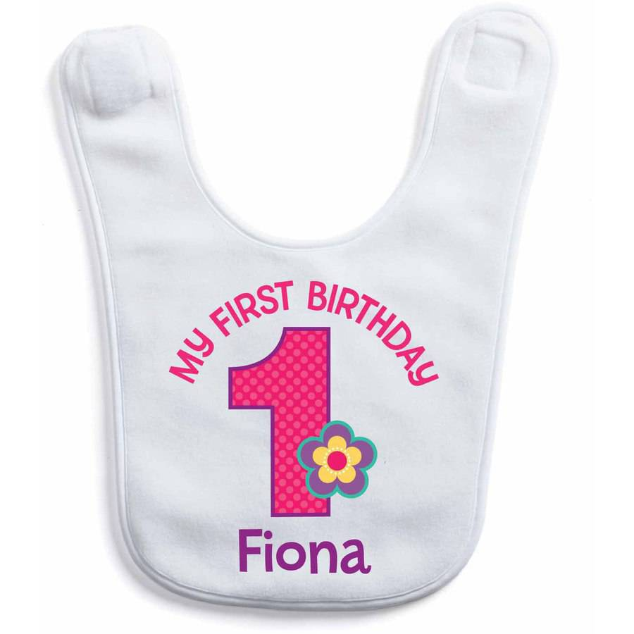 Personalized First Birthday Bib For Girl