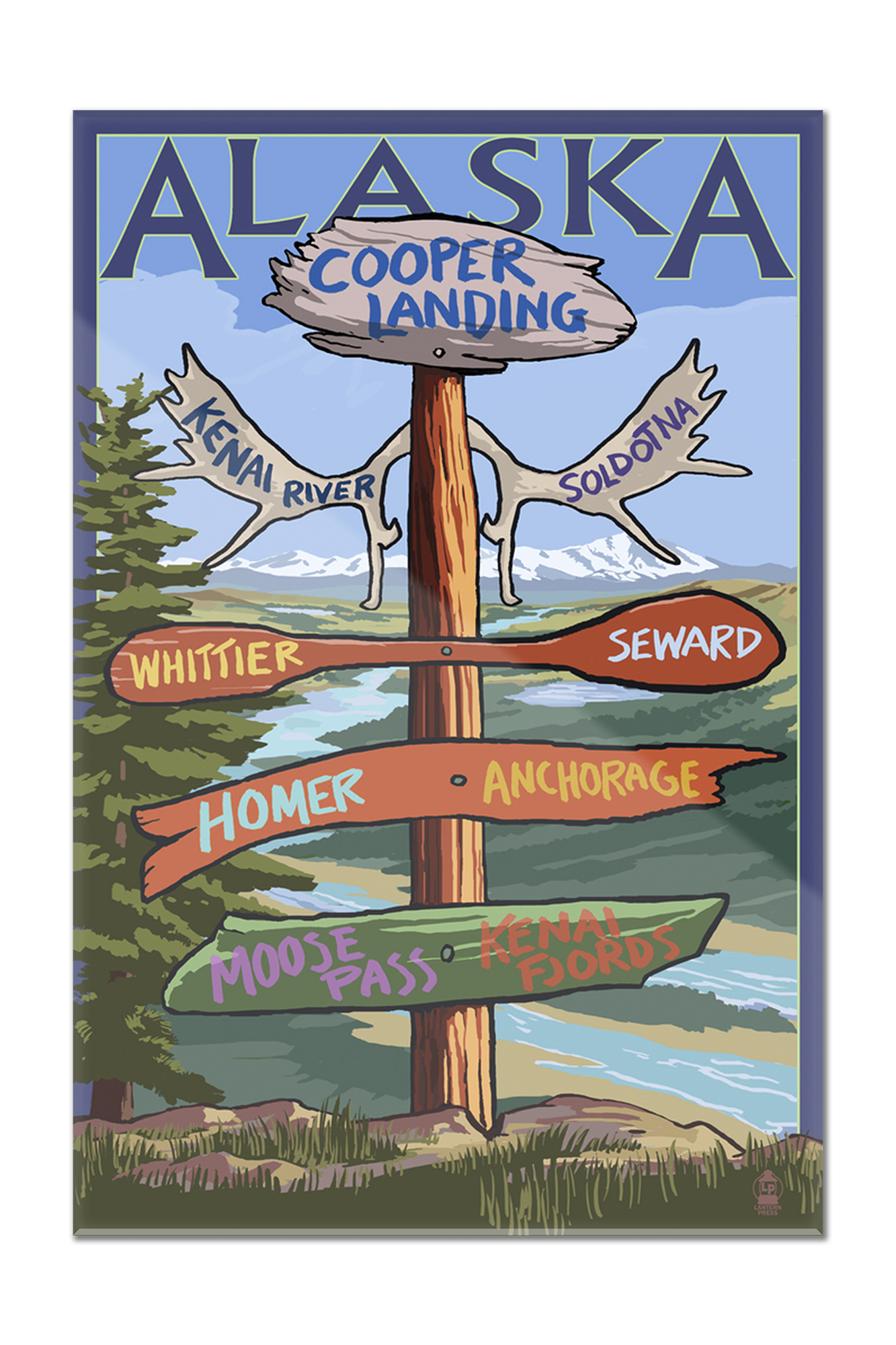 Kenai River, Alaska Sign Post Lantern Press Artwork (8x12 Acrylic Wall Artwork Gallery Quality) by Lantern Press