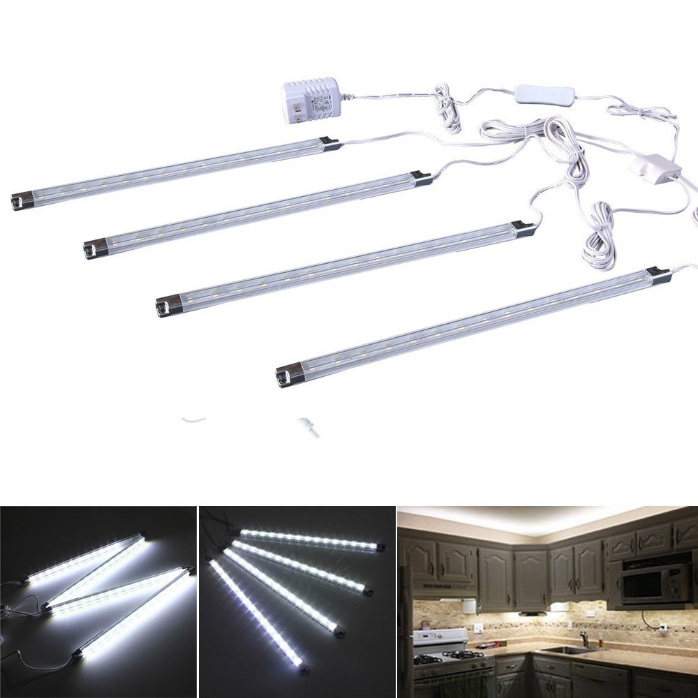 A Set of 4 LED Light Bar - Cool White Under Kitchen Cabinet Led Lamp Energy Saving Under Counter Lighting LED Strip Kit