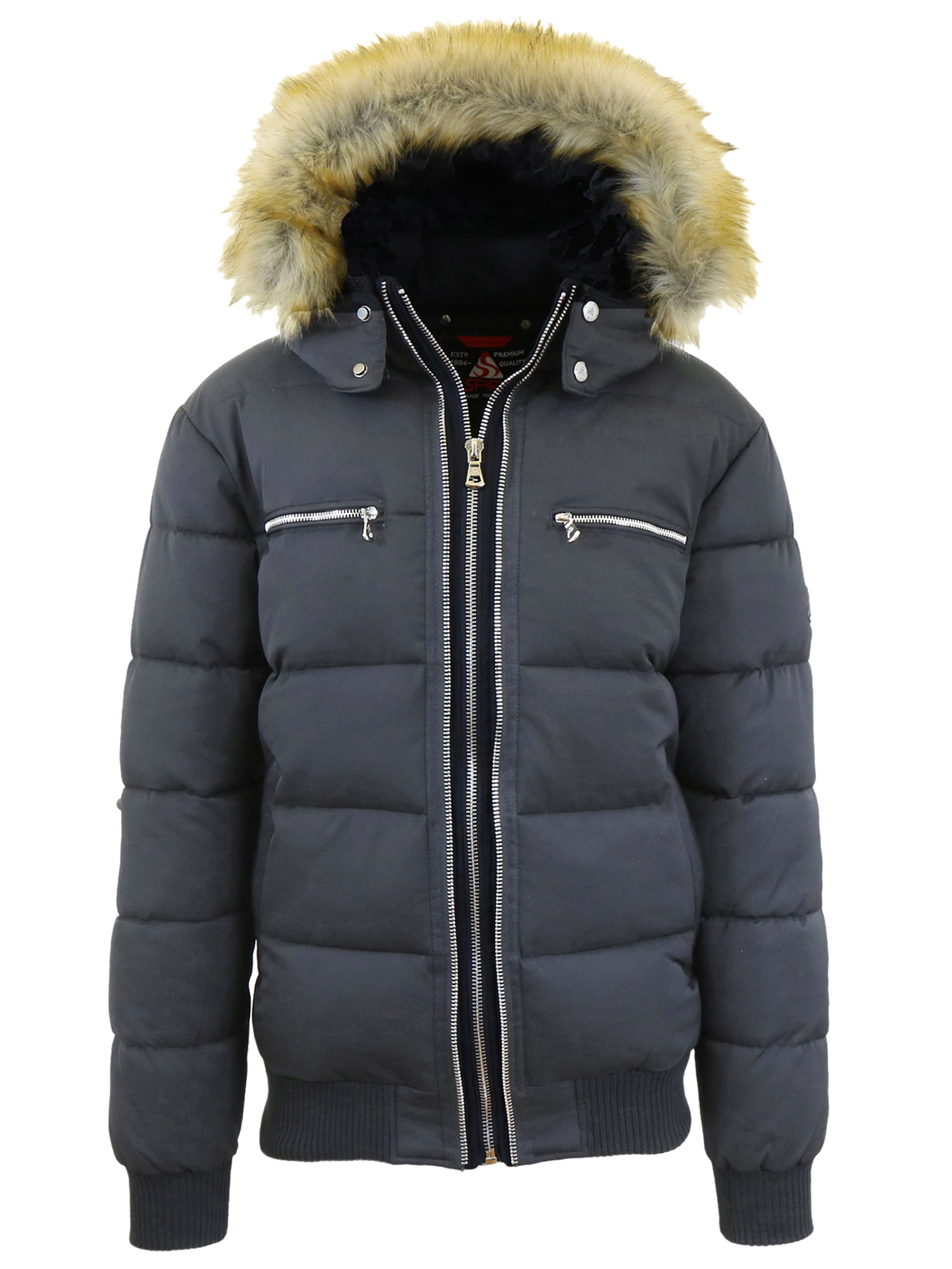 Mens Heavyweight Hooded Parka Jacket With Stripe Trim