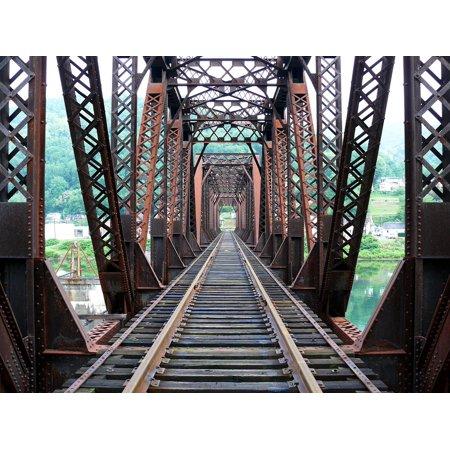 Laminated Poster Rails Tracks Railroad Bridge Trusses Poster Print 11 x (Railroad Truss Bridge)