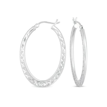 Cat Opal Earrings (Diamond Cut Large Oval Hoop Earrings in Sterling)