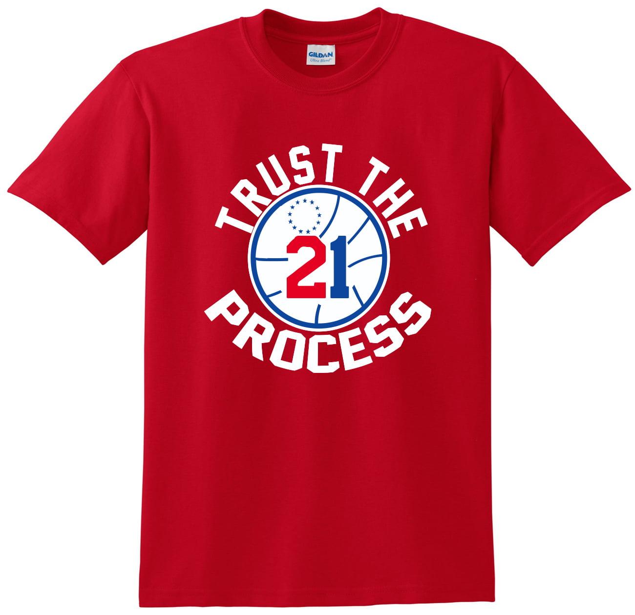 "Shedd Shirts Red Joel Embiid Philadelphia 76ers ""Trust the Process"" Adult Small T-Shirt"