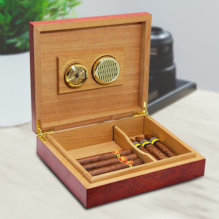 20 Count Brown Cedar Wood Wooden Lined Cigar Humidor Humidifier Storage Case Box With Hygrometer ()