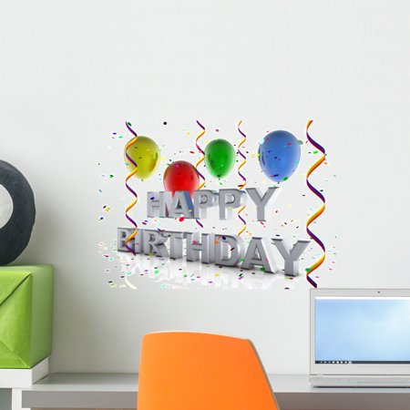 Happy Birthday Peel - Happy Birthday Wall Mural by Wallmonkeys Peel and Stick Graphic (18 in W x 13 in H) WM48173