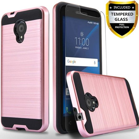 hot sales 49a67 e14e5 Alcatel TCL LX A502DL Phone Case, 2-Piece Style Hybrid Shockproof Hard Case  Cover with [ Tempered Glass Screen Protector] And Circlemalls Stylus Pen ...