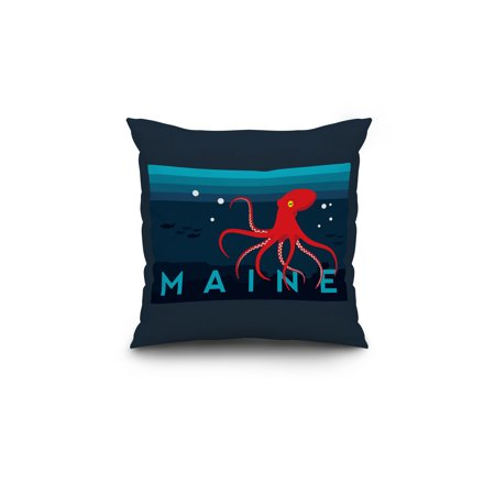 Maine Red Octopus Vector Style Lantern Press Artwork 18x18 Spun Polyes