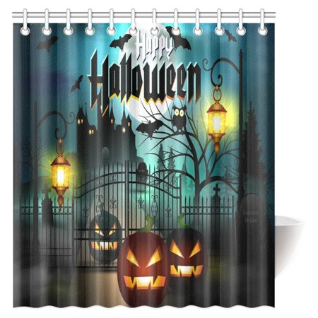 MYPOP Vintage Halloween Shower Curtain, Halloween Themed Asymmetric Caste with Scary Bats and Ghosts Full Moon Fabric Bathroom Decor Set with Hooks, 66 X 72 Inches](Halloween Bathroom Decor Ideas)