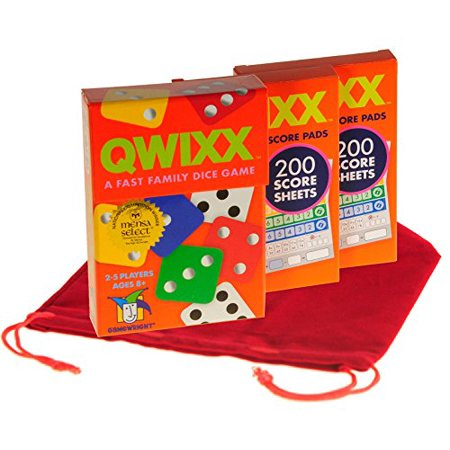 Deluxe Games and Puzzles QWIXX Fast Family Dice Game _ with 2 Replacement Score Pad Packs _ Bonus RED Velvet Drawstring Pouch _ Bundled Items - image 1 of 4