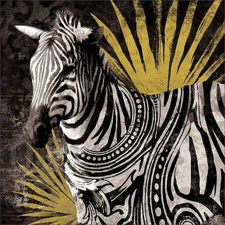 Modern Tribal Pattern Safari Zebra Jungle Leaf Texture Painting Black   Yellow Canvas Art By Pied Piper Creative