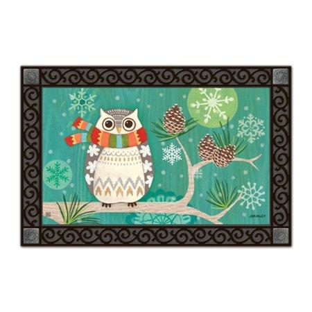 Winter Owl Primitive Doormat Seasonal Indoor Outdoor 18 X 30 Matmates Walmart Com Walmart Com