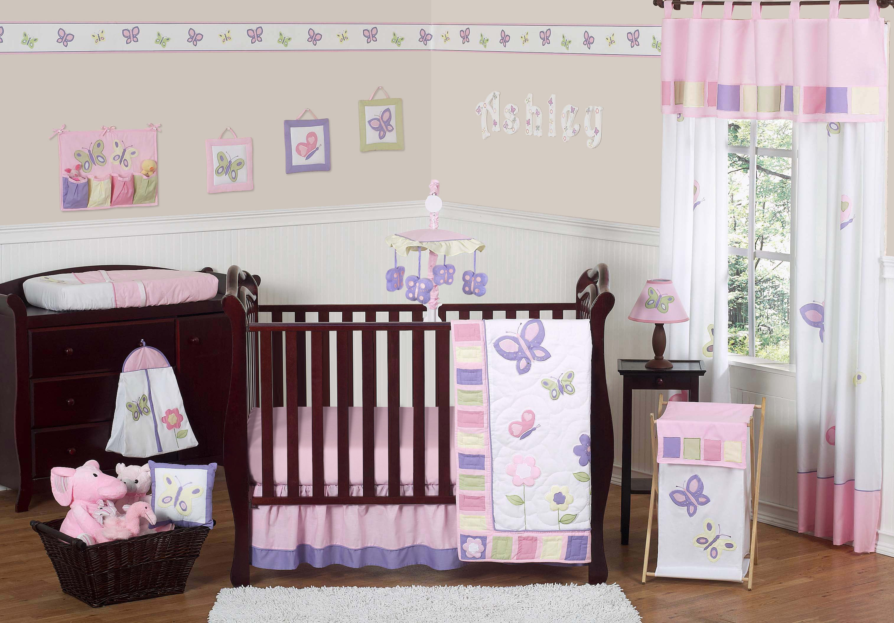 Image of: 11pc Crib Bedding Set For The Pink And Purple Butterfly Collection By Sweet Jojo Designs Walmart Com Walmart Com