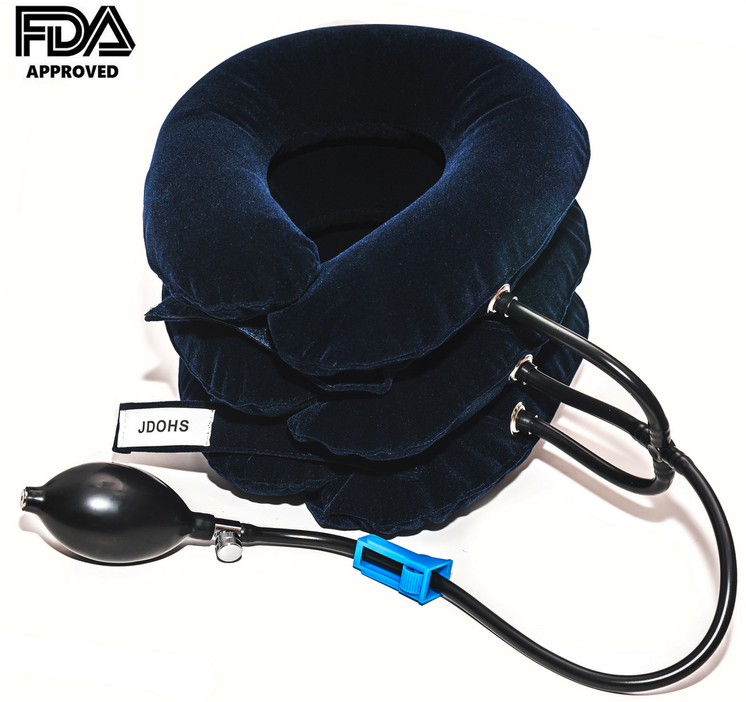 Cervical Neck Traction Device, Inflatable Neck Traction, Neck Brace  for Fast Neck Head & Shoulder Pain Relief  Adjustable and FDA Approved