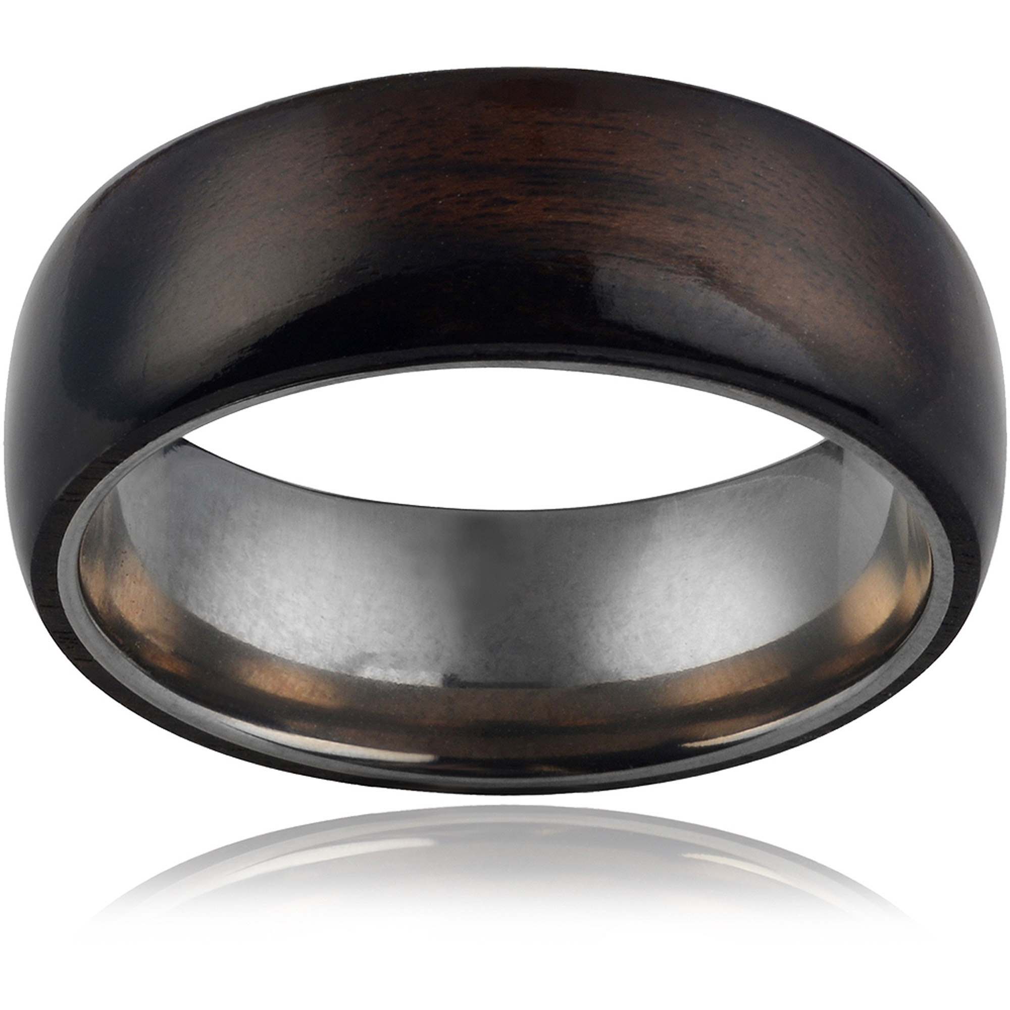 Daxx Men's Titanium Pipe-Cut Hawaiian Koa Wood Fashion Ring