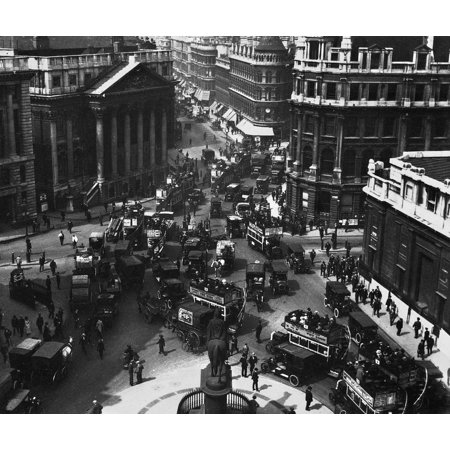 London Financial District Naerial View Of The Financial District Of London England With Mansion House  Left  And The Bank Of England  Right  Photographed C1910 Rolled Canvas Art     18 X 24