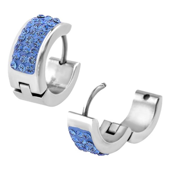 Inox Jewelry SSE5159LB Crystal in Huggies Stainless Steel Gem Earrings, Blue - 14 mm