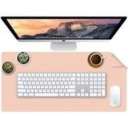 Desk Pad Leather, Dual Side Table Cover Desk Mat Water Repellent Protector Blotter Mouse Pad for Writing, Laptop, Desktop at Academic, Office, Home (Small, Pink)