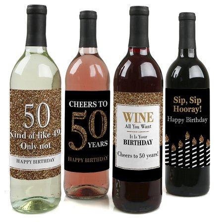 Adult 50th Birthday - Gold - Wine Bottle Labels Birthday Gift - Set of 4 for $<!---->