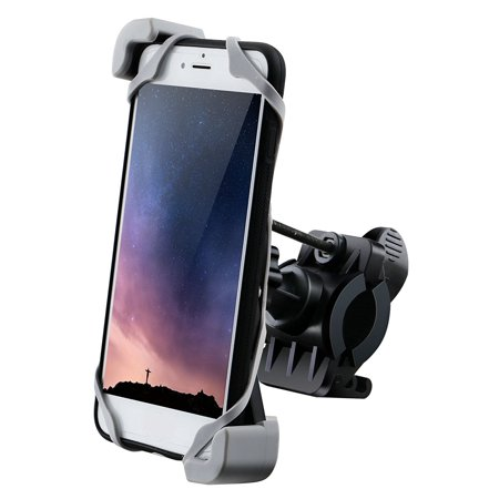 IPOW Bike Cell Phone Mount Bicycle Motorcycle Handlebar Holder with Secure Clamp & Silicone Strap Universal for iPhone XR XS X 8 7 6 6s Plus SE, Note, Nexus, LG, HTC, Samsung Galaxy,