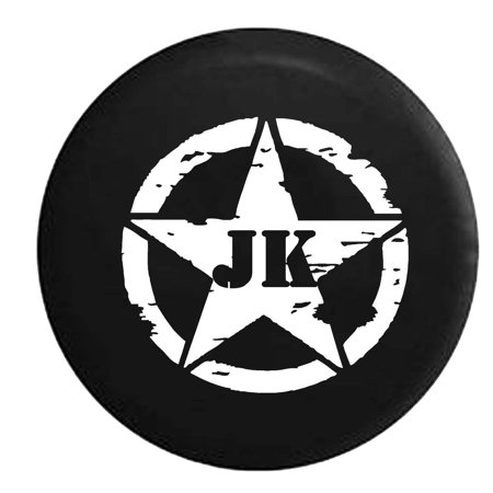 Oscar Mike Jeep JK Vintage Star Spare Tire Cover Vinyl Black 27.5 (Custom Jeep Spare Tire Covers)
