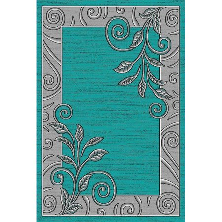 Golden Rugs F9-LZEL-5PP5 5 ft. 2 in. x 7 ft. 5 in. Platinum Collection Hand Carved Area Rug, Turquoise ()
