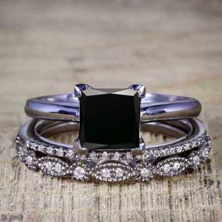 Artdeco 1.50 Carat Princess cut Black Diamond Trio Wedding Bridal Ring Set Black Gold