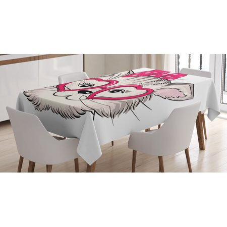 Kitty Tablecloth, Hipster Sweet Cat Wearing Heart Shaped Pink Glasses and Dotted Hair Bow, Rectangular Table Cover for Dining Room Kitchen, 60 X 84 Inches, Magenta Beige Black, by Ambesonne - Heart Shaped Glasses