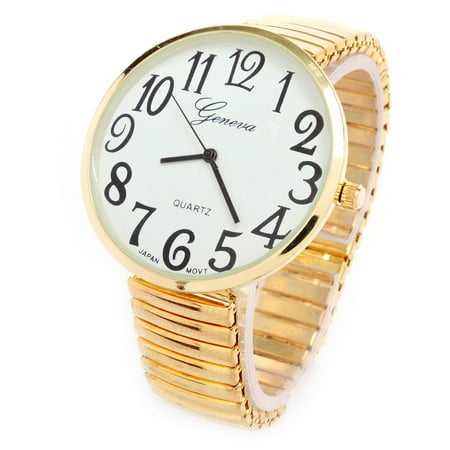 Gold Super Large Face Easy to Read Stretch Band Watch