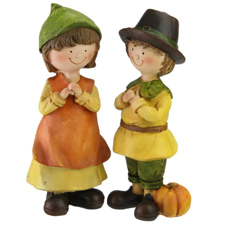 Set of 2 Traditionally Dressed Boy and Girl Pilgrim Thanksgiving Figurines 7.5