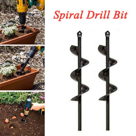 2pcs New Planter Garden Auger Hole Digger Drill Bit Attachment 46*370 (Garden Drill Auger)