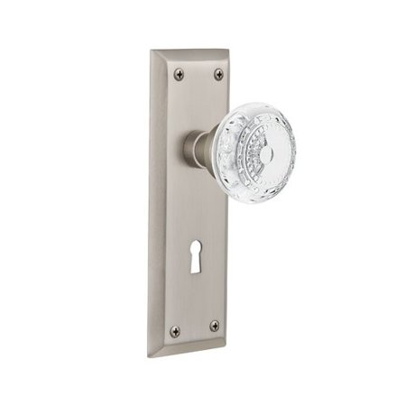 Nostalgic Warehouse Meadows Privacy Door Knob with New York Plate