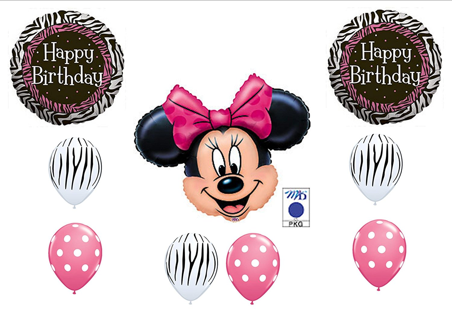 PINK MINNIE MOUSE AND ZEBRA PRINT BIRTHDAY PARTY Balloons Decorations Supplies By Minnie Mouse Zebra Birthday Anagram