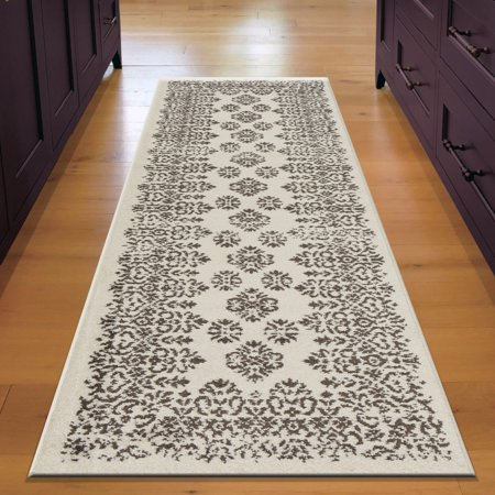 Lr Home Infinity 2x7 Cream Brown Damask Floral Border