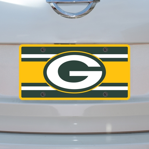 Green Bay Packers Super Stripe Acrylic Cut License Plate - No Size