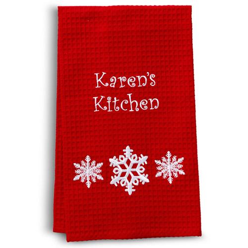 Personalized Waffle Weave Christmas Hand Towel, Snowflake