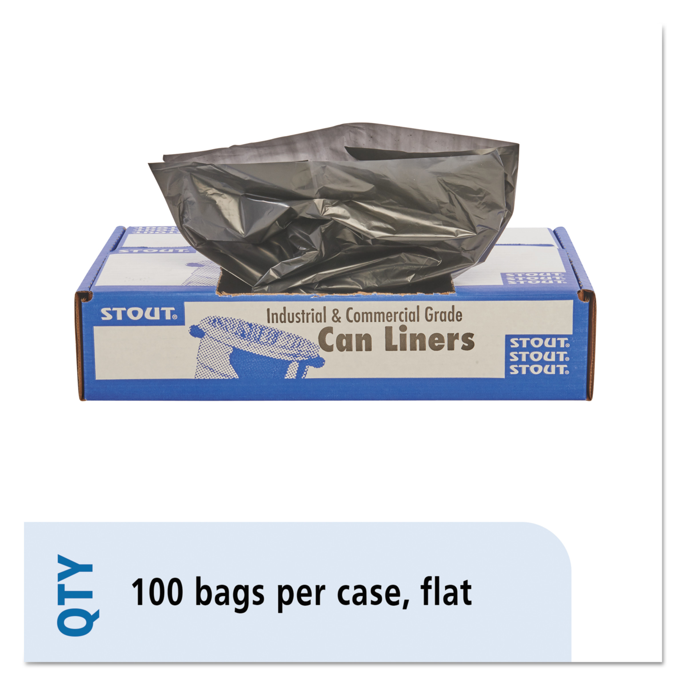 Stout by Envision 100% Recycled Plastic Garbage Bags, 20-30gal, 1.3mil, 30x39, Brown/Black, 100/CT