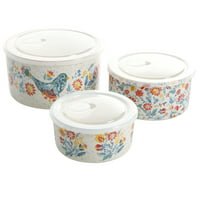 Deals on The Pioneer Woman Mazie 6-Piece Round Bowls with Lid