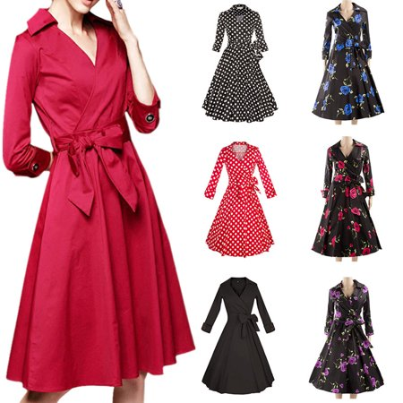 2017 Fall Fashion Women Vintage Dresses Retro 1950s Rockabilly Polka Dot Swing Pinup Skirt Party Prom Housewife Dress ()
