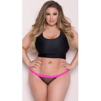 Plus Size Crotchless Open Back Fence Mesh Panty