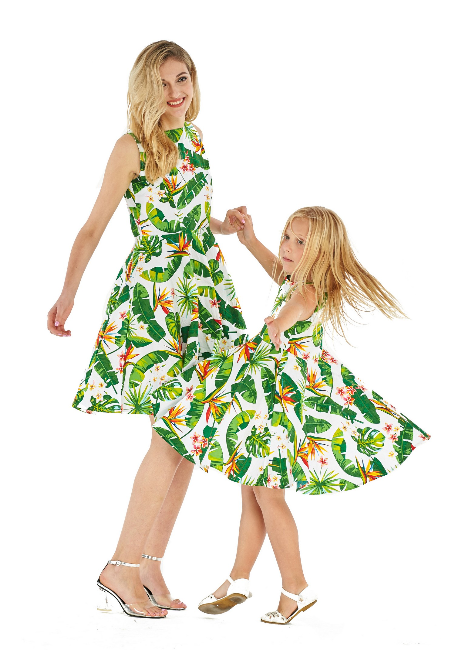 be010bdc8b88 Hawaii Hangover - Matching Hawaiian Luau Mother Daughter Vintage Fit and  Flare Dresses in Bird of Paradise in White 2XL-10 - Walmart.com