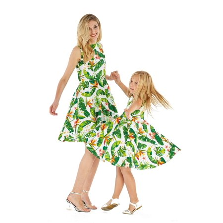 Matching Hawaiian Luau Mother Daughter Vintage Fit and Flare Dresses in Bird of Paradise in White - Vintage Luau
