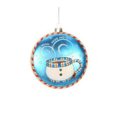 "4"" Mary Engelbreit Let It Snow Snowman Teapot Christmas Disc Ornament"