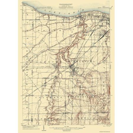 Topographical Map Print Berea Ohio Quad Usgs 1904 17 X 23 38